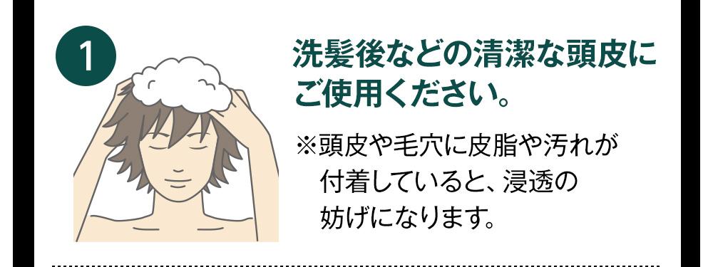 洗髪後などの清潔な頭皮にご使用ください。