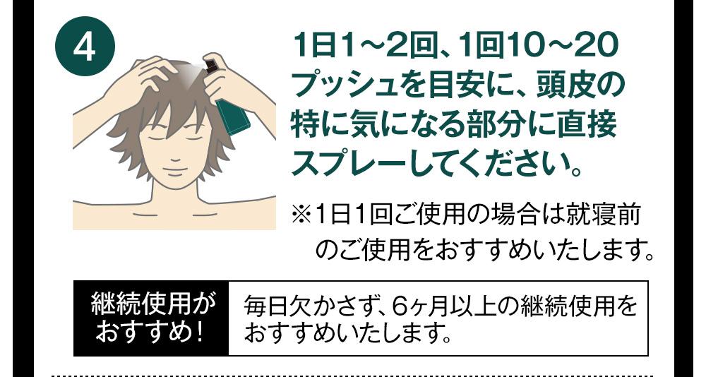 1日1〜2回、1回10〜20プッシュを目安に、頭皮の特に気になる部分に直接スプレーしてください。