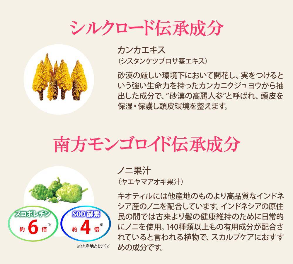 シルクロード伝承成分:カンカエキス インドネシア伝承成分:ノニ果汁